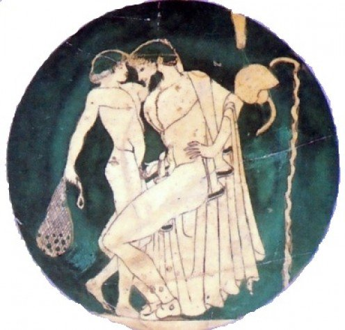 """This Greek cup dating from about 480 BCE shows the accepted form of homosexual love in Ancient Greece. From """"Sex and Spirit"""" by Clifford Bishop (1996)"""