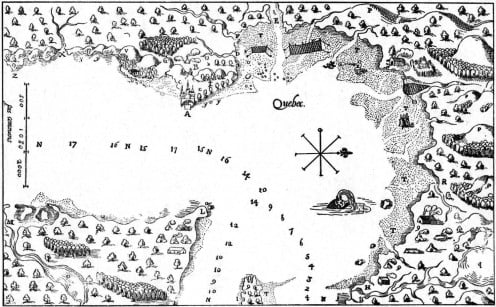 17th century map of the Quebec City are, with the Montmorency Falls marked, bottom right.