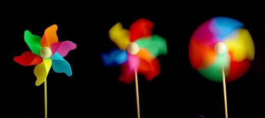 Pinwheel captured at different shutter speeds