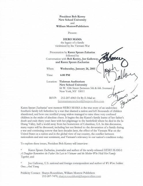 The autographed media release.