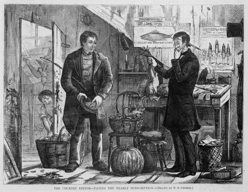 Image of Chickens being bartered for a Subscription From Harper's Weekly.