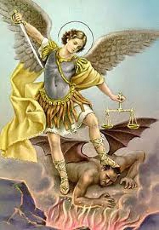 The battle between Michael and Lucifer, ending with Lucifer being banished with the angels he convinced to fight with him.