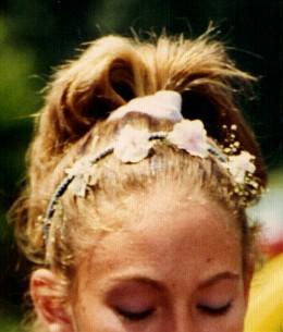 The girls made flower head bands