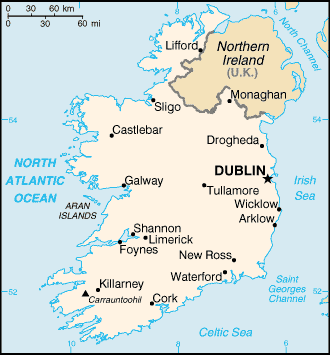 Map of Ireland, with Cork and its harbour marked, where Cobh is situated.