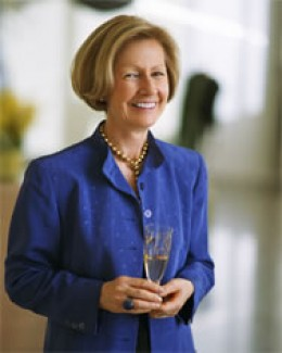 Mireille Giuliano enjoys a glass of champagne.
