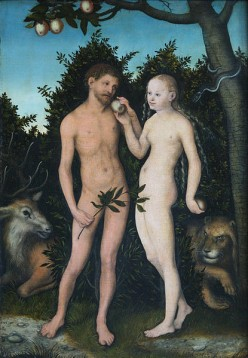 Adam and Eve by Lucas Cranach the Elder. Public domain - copyright expired. http://en.wikipedia.org/wiki/File:Lucas_Cranach_the_Elder-Adam_and_Eve_1533.jpg