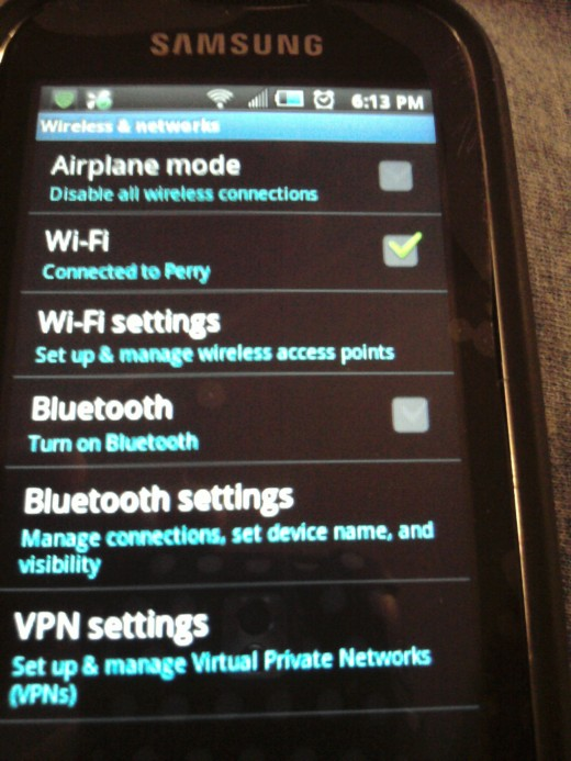 Go to Wireless & Networks in settings