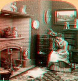 This old anaglyph image uses two color layers superimposed, but offset with respect to each other, to produce the appearance of depth.