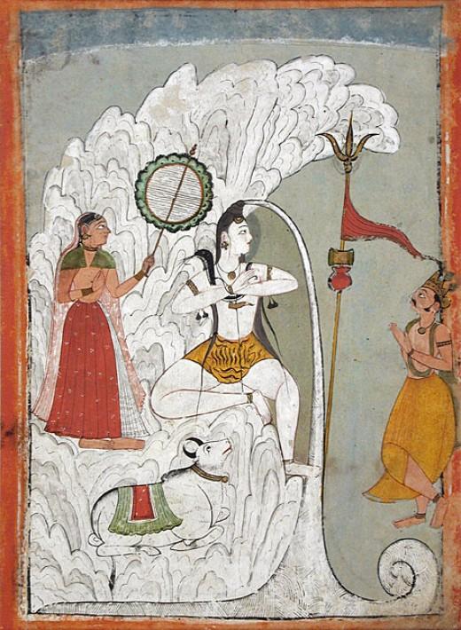 Shiva Teniendo el Descenso del río Ganges como Parvati y Bhagiratha, y el toro Nandi mirar, folio de un manuscrito Hindi por el santo Narayan, circa 1740
