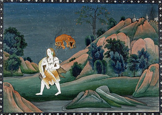 Shiva lleva el cadáver de su primera consorte Dakshayani