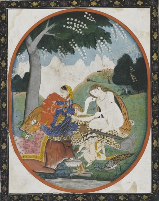 Un ejemplo de la familia de Shiva, que consta de Shiva, Parvati, Ganesha y Skanda