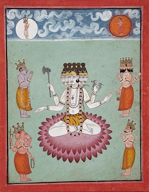 Adoración de Shiva cabezas Five de Vishnu (figura azul, a la izquierda de Shiva), Brahma (de cuatro cifras de cabeza a la derecha de Shiva), Ganesha (hijo con cabeza de elefante de Shiva, abajo a la izquierda) y otras deidades.