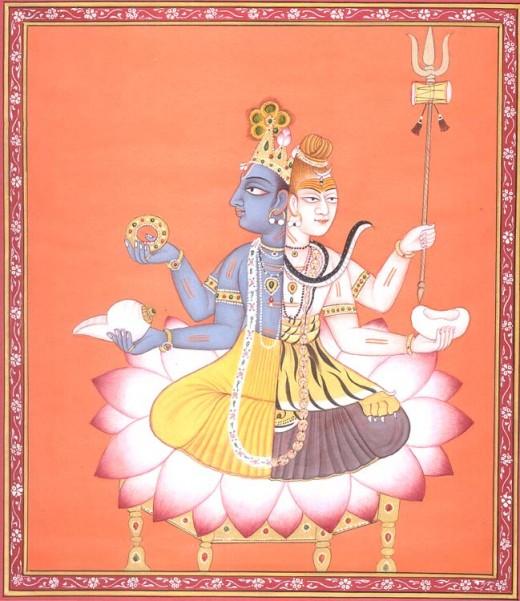 Vishnu (mitad izquierda - azul) y Shiva (mitad derecha - blanco)