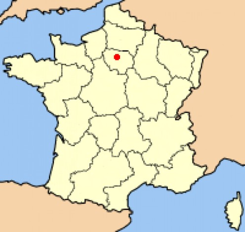 Map location of Paris, France