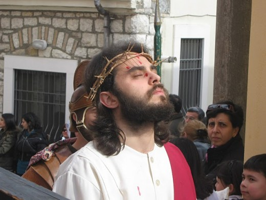 Barile, Italy. Christ, met in the street in Friday before Easter