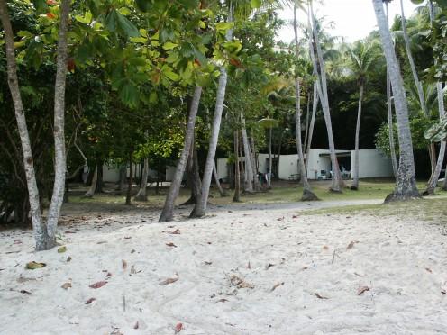Cabanas on the beach at Cinnamon Bay