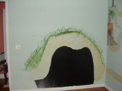 """""""Rabbit's Hole"""" Mural with black board paint"""