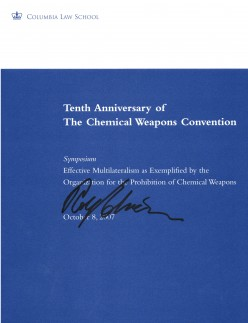 While at the symposium I heard Ambassador Pfirter is reponsible for the elimination of the most WMD in the entire world.