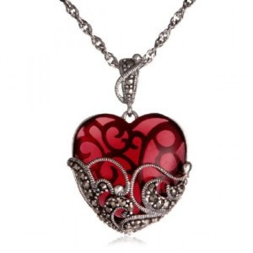 Sterling Silver Marcasite and Garnet Colored Glass Heart Pendant, 18""