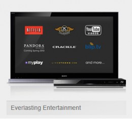 The Sony BDP-S570 supports netflix, pandora and even Youtube!