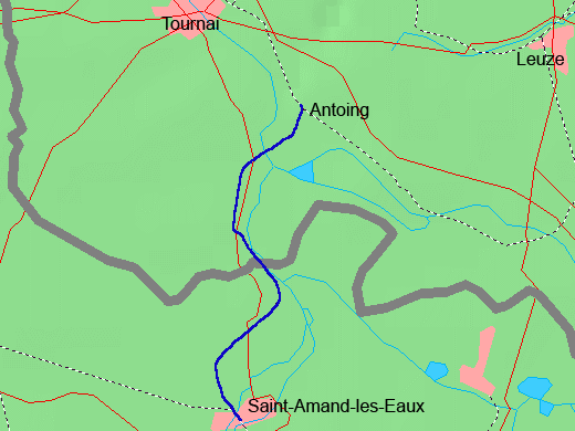 Map location of Saint-Amand-les-Eaux, near the Belgian border