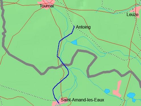 Map location of Saint-Amand-les-Eaux, near the Belgian border