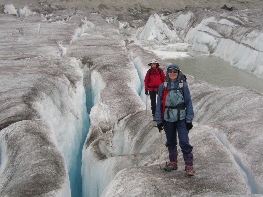 Up past the muddy area there are deep crevasse on the flatter part of Bridge Glacier