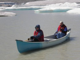 Paddling on the silty  icy lake is a scary experience. If you fall in you would not last long.
