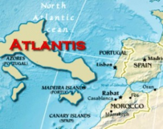 A hypothetical depiction of Atlantis based on the locations of the Africa-Eurasia tectonic plate boundary, the Azores underwater plateau, and the Mid-Atlantic Ridge. Adapted from a map courtesy cia.gov.