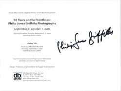 I also got him to autograph two event cards he brought with him announcing an exhibition of his that opened the prior evening in New York City.