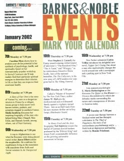 Front of the signed event calendar. While Cahill has written many other books, including, Mysteries of the Middle Ages,  the now deceased, Frady penned books about George Wallace and Jesse Jackson.