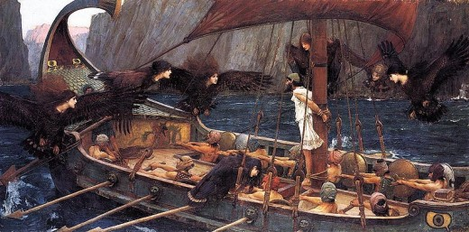 Odysseus being tempted by the Sirens.