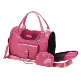 Fashion Forward Pink Dog Crocodile Pattern Pet Carrier
