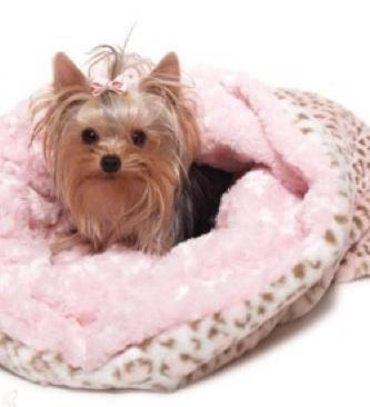Pink Leopard Dog Bed