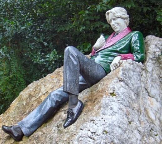 Oscar Wilde Statue in a Park in Dublin, Ireland