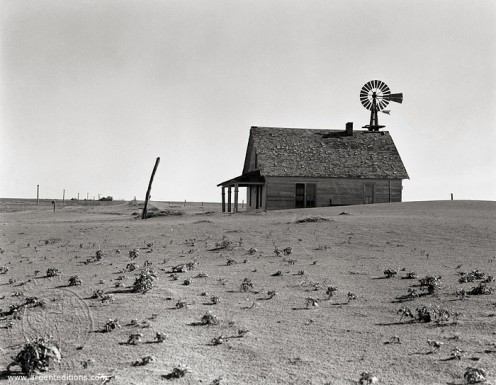 American farm during time of the Dust Bowl 1930 to 1936. It was caused by severe drought and lack of crop rotation.