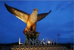 Statue of Brahminy Kite at Eagle Square (Dataran Lang) , Langkawi, Malaysia.