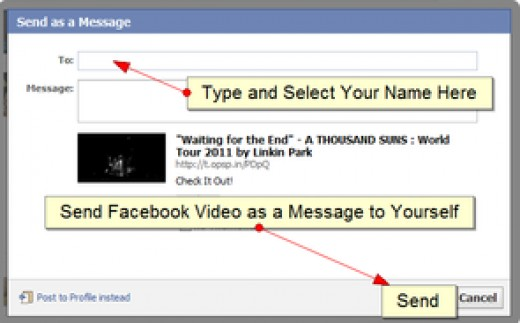 Send Facebook video that you want to save as a message to yourself