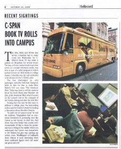Article I found a week later about the bus and Sides' talk.