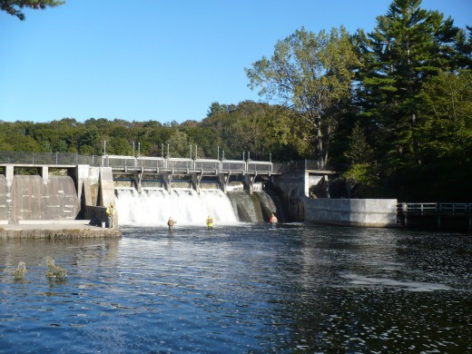Fishermen at Hamlin Lake Dam, Ludington State Park