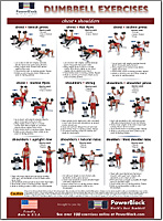 Dumbbell Exercise Chart - White with Photos and Full Instructions
