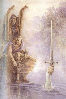King Arthur, Merlin and The Lady Of The Lake.