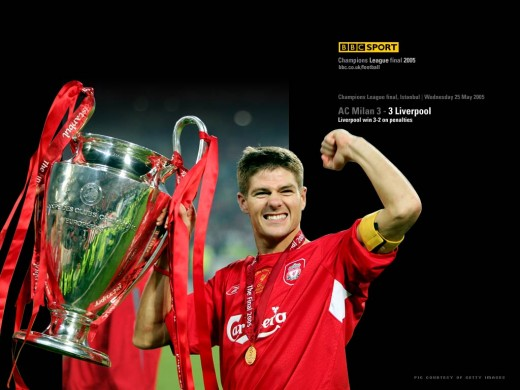Steven Gerrard With The Champions League Trophy In 2005 Wallpaper