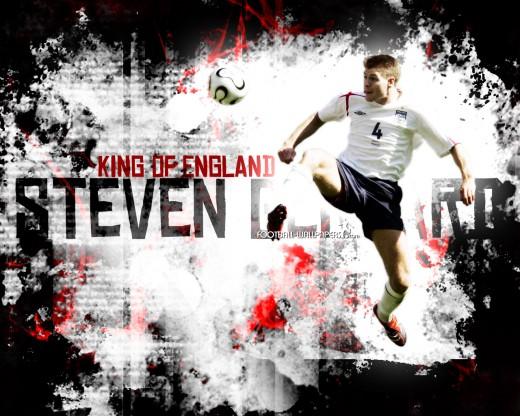 Steven Gerrard In An England Football Shirt Wallpaper