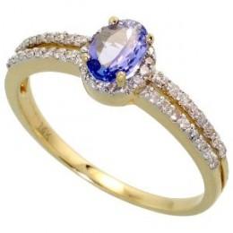 Tanzanite Stone and diamond Ring