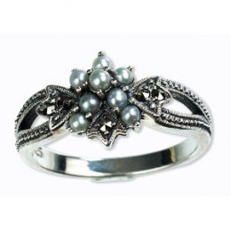 Silver Natural Seed Pearl Ring