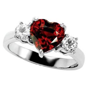 White Gold Plated Genuine Heart Shape Garnet Engagement Ring