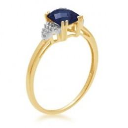 Yellow Gold, September Birthstone, Created Ceylon Sapphire and Diamond Ring