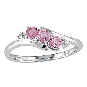 10K White Gold Diamond and Pink Tourmaline Ring