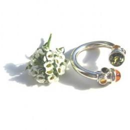 Multicolor Baltic Amber and Sterling Silver Adjustable Designer Ring